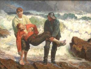 """Målningar med mer dramatiskt innehåll som """"Den druknede bringes i land""""  (178×233 cm) av Laurits Tuxen hör också till bilden av Skagenmåleriet. 7ed3b694c88b7"""