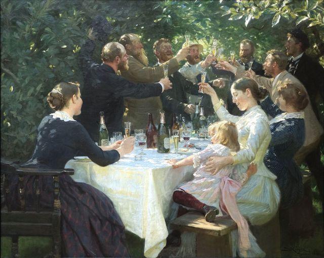 """Konstnärsfest på Skagen""""av P S Krøyer ses som en av höjdpunkterna på  konstnärskolonins många mästerliga målningar men också som ett dokument  över hur ... dd48442f2ba64"""